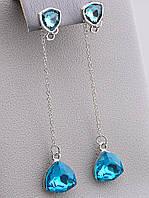 Длинные серьги с голубыми камнями на цепочках 061223