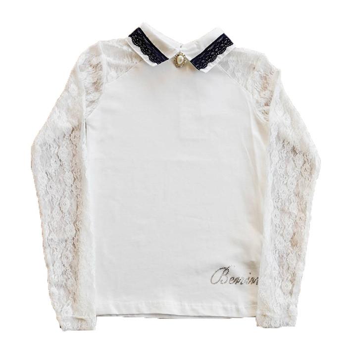 Блуза школьная молочного цвета для девочки, Benini