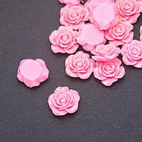 Кабошон Роза розовая акрил d-18мм фас. 17шт