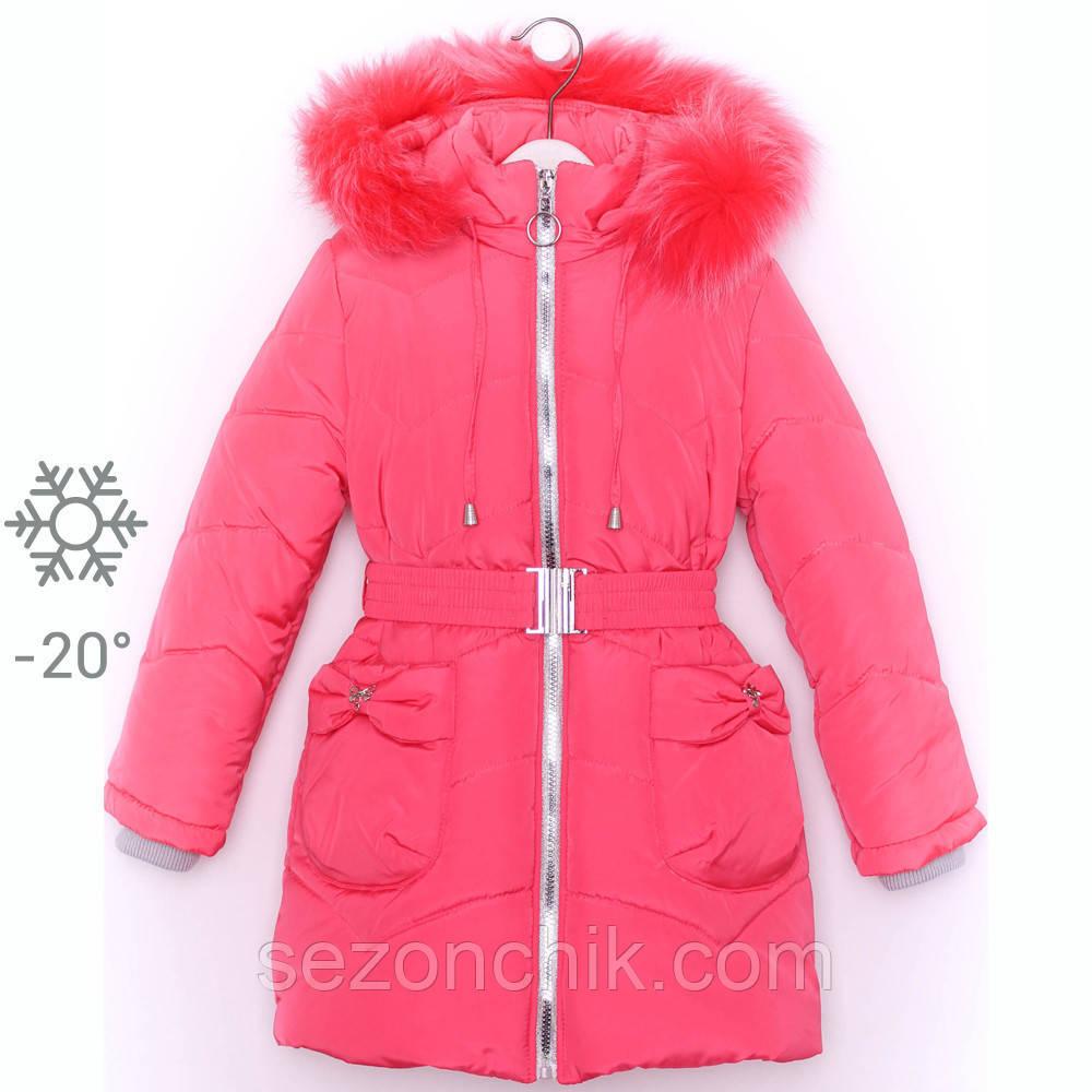Пальто зимнее для девочки пуховик с мехом на капюшоне