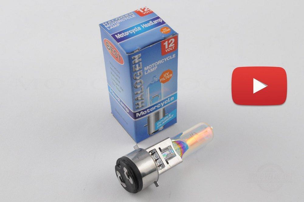 Лампа BA20D (2 уса)   12V 18W/18W   (хамелеон радужный)   BEST   (mod:A), шт