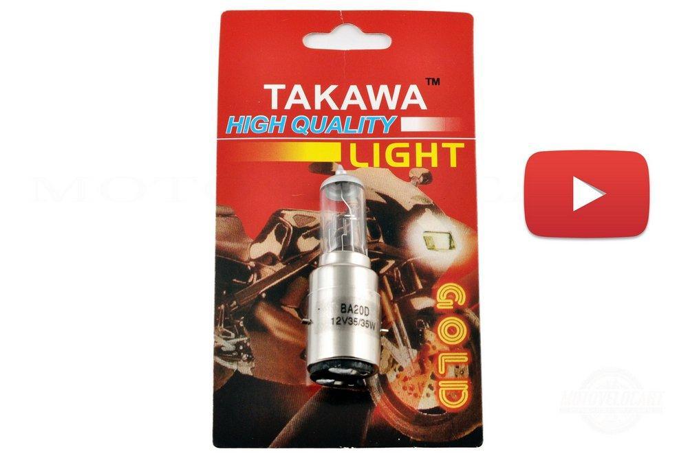 Лампа BA20D (2 уса)   12V 35W/35W   (белая, высокая)   (блистер)   TAKAWA, шт