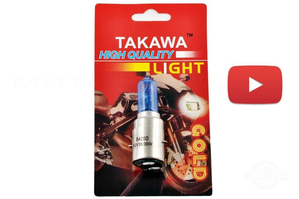 Лампа BA20D (2 уса)   12V 35W/35W   (супер белая, высокая)   (блистер)   TAKAWA, шт