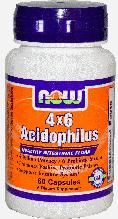 Ацидофілус, Now Foods, Acidophilus 4 X 6 Powder, Caps 60