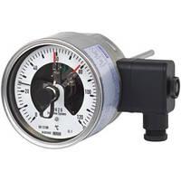 Биметаллический термометр с электроконтактами, Исполнение из нержавеюещей стали с зажимным кольцом, IP65, НР 100 и 160 мм 55-8xx