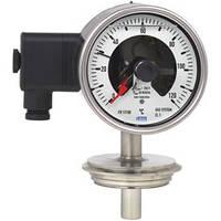Манометрический термометр с электроконтактами, исполнение из нержавеющей стали  для стерильных технологических процессов, с байонентным кольцом, IP65,
