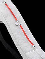 Браслет красная нить с подвеской Сердце родиевое покрытие 057273