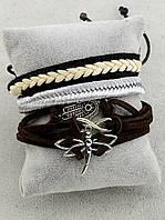 Браслет набор 3 шт на завязках Стрекоза, хамса, шнурок 17 см. 034571