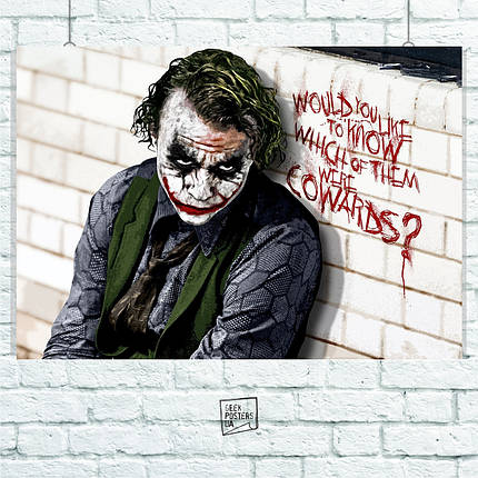 "Постер ""Джокер, у белой стены с надписью"". Joker. Размер 60x42см (A2). Глянцевая бумага, фото 2"