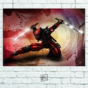 Постер Deadpool (арт, в присяде, с двумя мечами). Размер 60x42см (A2). Глянцевая бумага