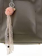 Брелок Цветок розовый из ткани 045664
