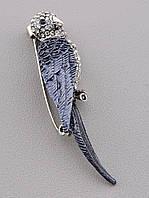 Брошь в форме булавки Птица серая Сrystal 056376