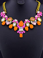 Колье оранжево-розовое на цепочке модная бижутерия 45 см. 041163