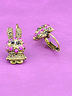 Сережки Зайчики с розовыми кристаллами  051726