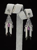Серьги длинные под серебро с цепочками и кристаллами 045491