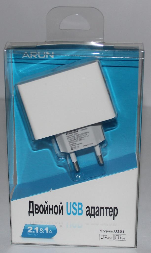 Мережевий зарядний Arun U201 2USB 2.1 A