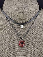 Чокер двойной Роза на черном шнурке эко кожа 30 см. 044498