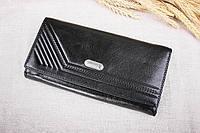 Классический женский кожаный чёрный кошелек B-2011 Loncome, натуральная кожа