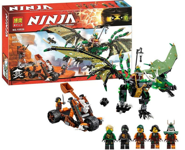 """Конструктор Bela Ninja 10526 """"Зеленый дракон"""" 603 деталей. (Аналог Lego Ninjago 70593)"""
