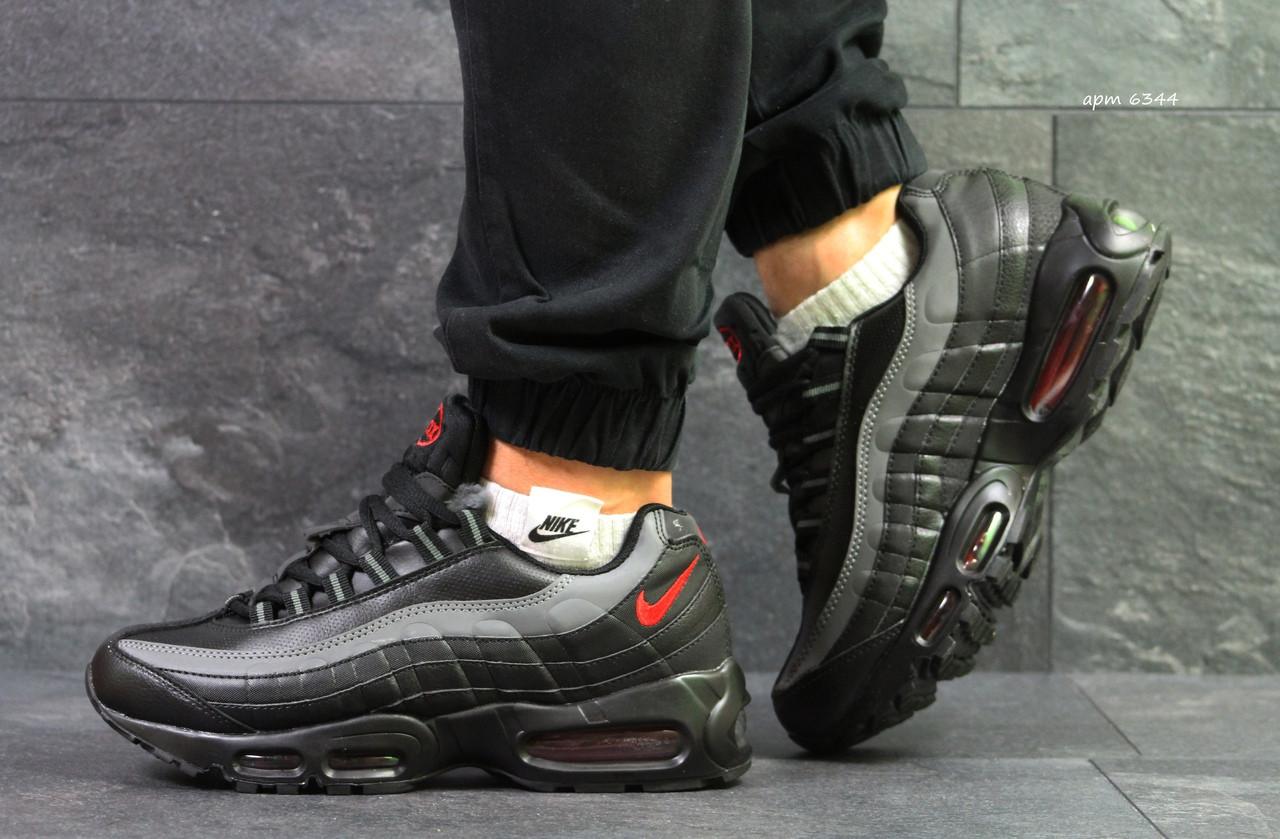 Кроссовки мужские зимние Nike Air Max 95 черные с серым 42 размер 26.7см 30170c0e1b2