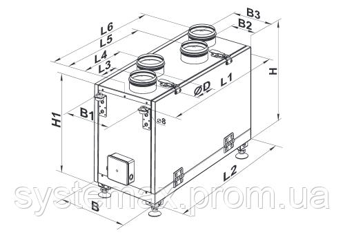 Схема габаритных размеров Вентс ВУТ 200 В мини (Vents VUT 200 V mini)