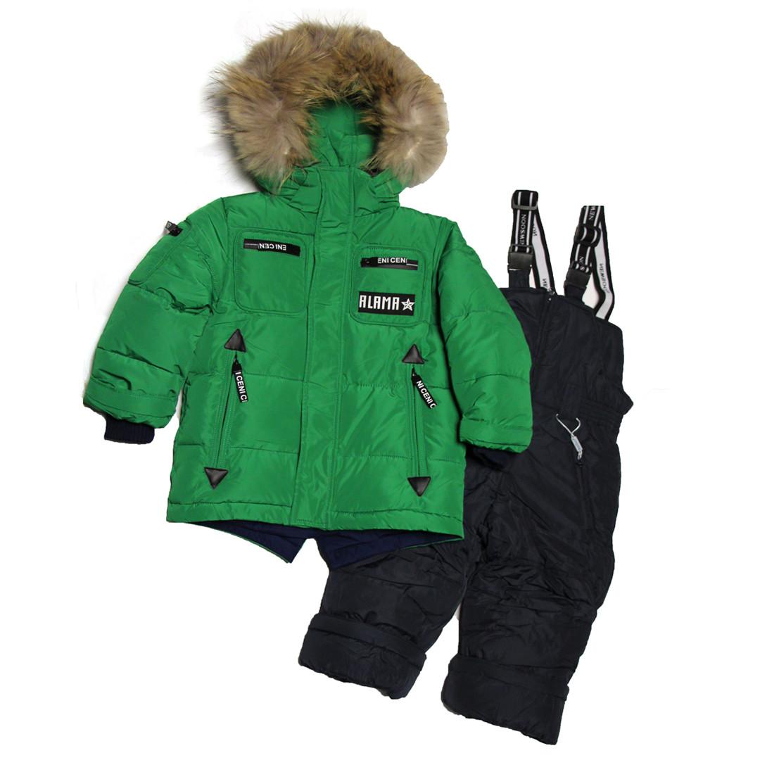 Детский зимний комбинезон для мальчика 3-4 года New Soon зеленый