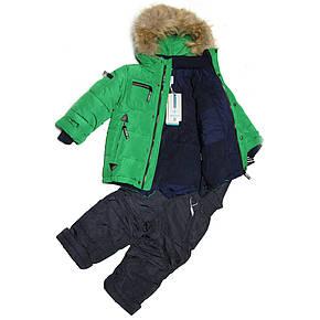 Детский зимний комбинезон для мальчика 3-4 года New Soon зеленый, фото 2