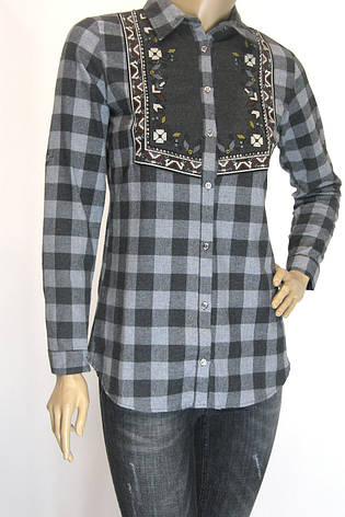 Женская клетчатая рубашка фланель с вышивкой , фото 2