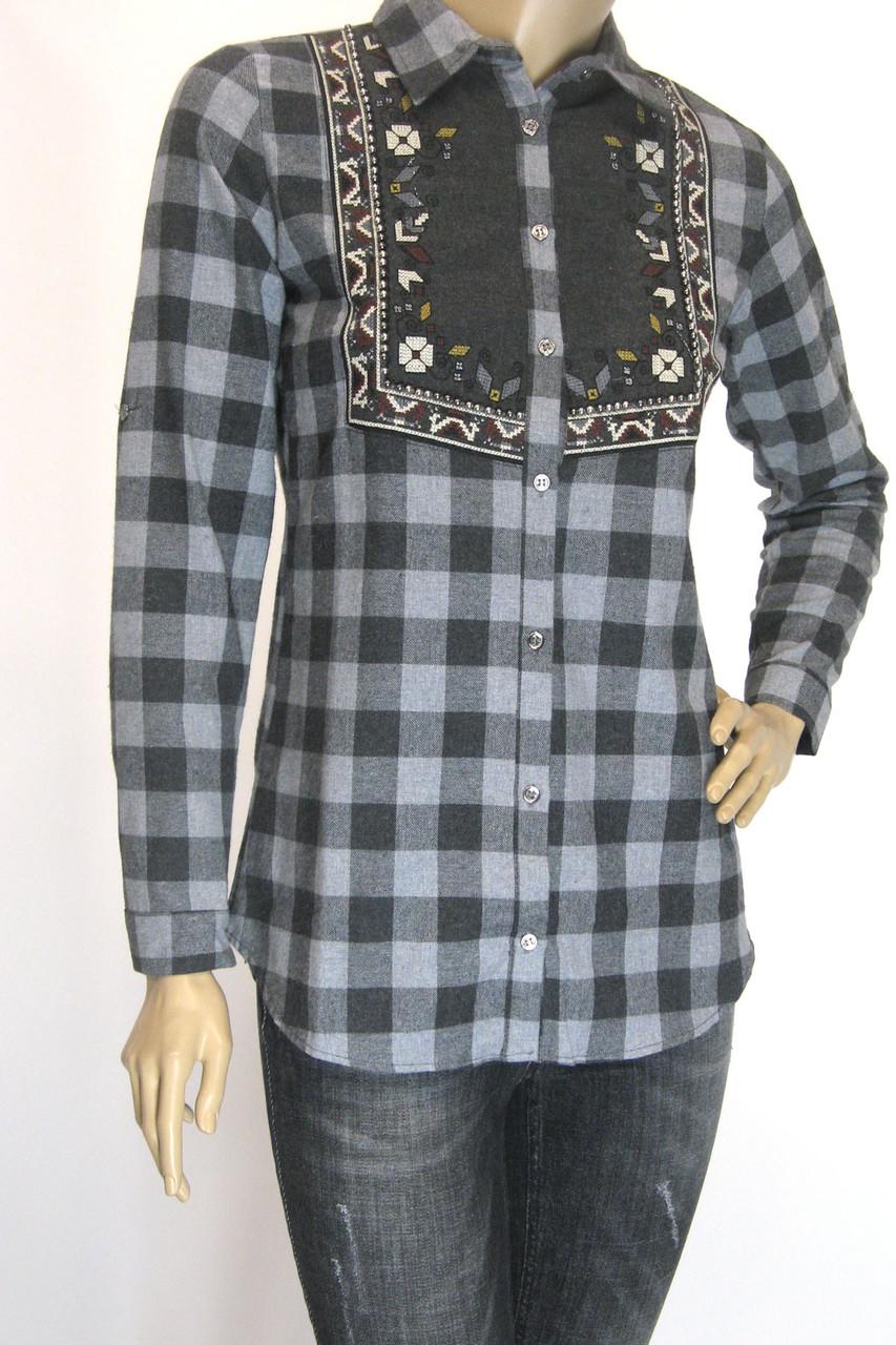 Женская клетчатая рубашка фланель с вышивкой