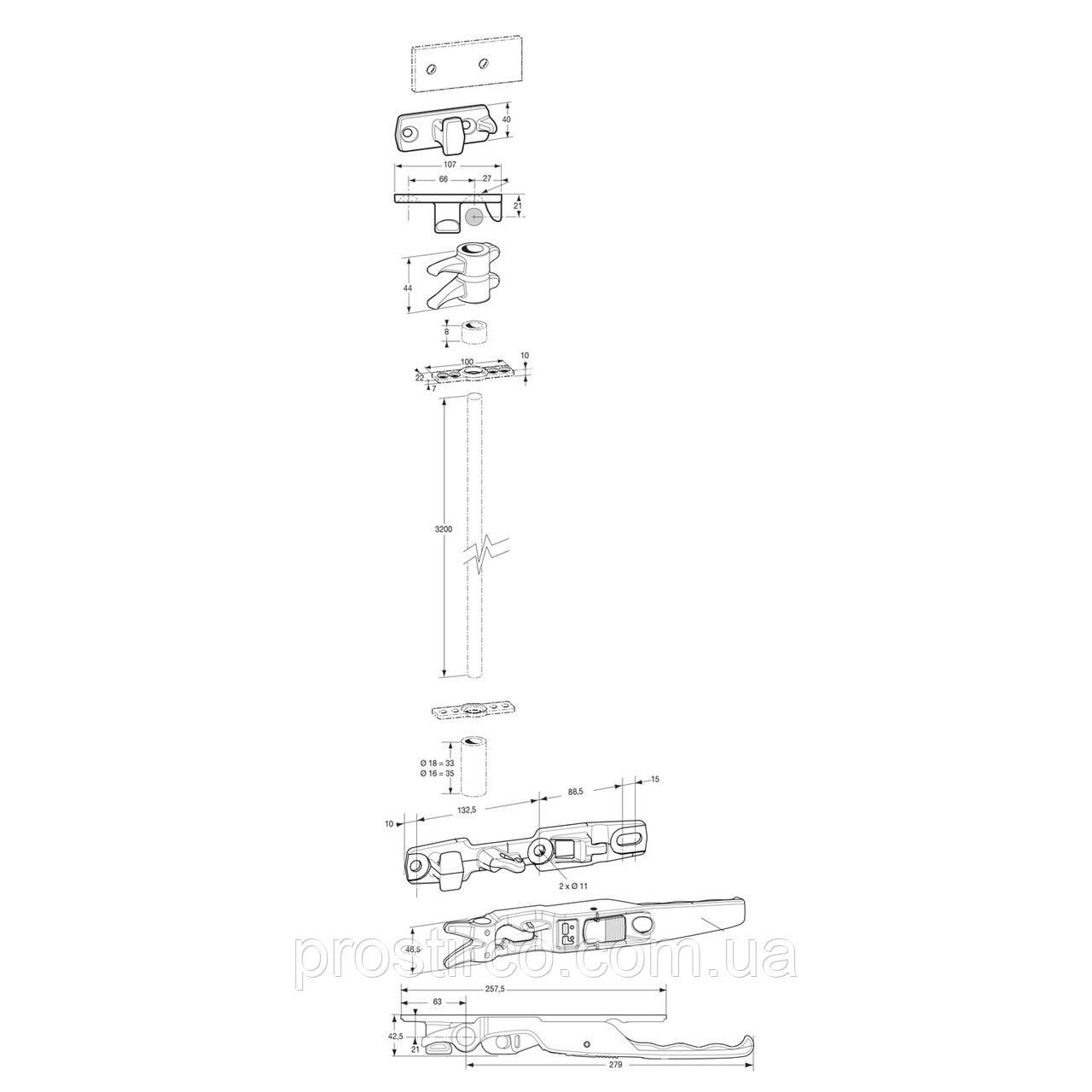 Замок оцинкований, внутренний, 18мм (комплект)
