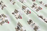 """Ткань хлопковая """"Три медведя в кружочках"""" на светло-мятном фоне, №1546а, фото 3"""