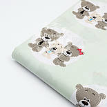 """Ткань хлопковая """"Три медведя в кружочках"""" на светло-мятном фоне, №1546а, фото 6"""