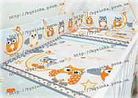 Простынка в детскую кроватку на резинке -Сова серая