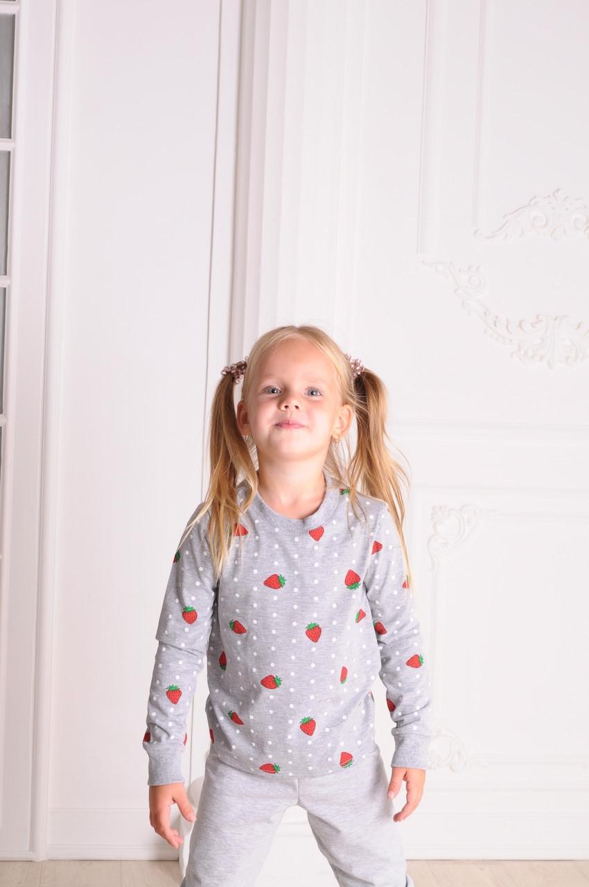 Пижама детская Осень Клубничка от 4 до 8 лет(104;110;122;128)