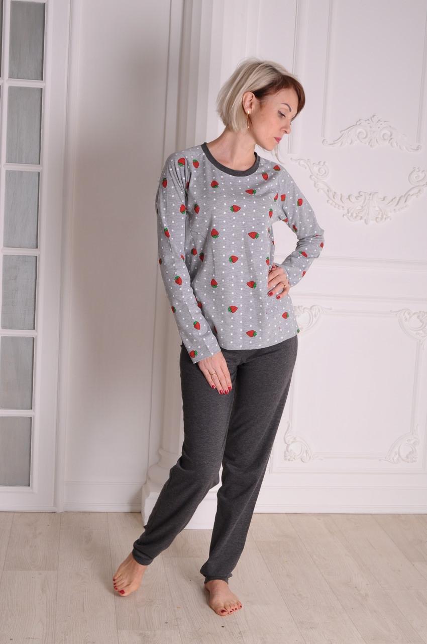 Пижама женская  трикотажная Клубничка размеры 40-48