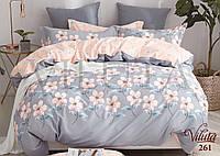 """Комплект семейного постельного белья с двумя пододеяльниками № 261 """"Цветы"""""""