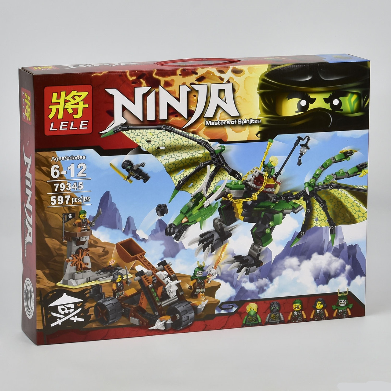 """Конструктор """"NJ"""" 79345, """"Зелений енерджі дракон Ллойда"""" 597 деталей (аналог Lego)"""