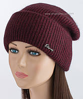 Теплая вязаная шапочка Фрида бургунди