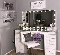 Широкий гримерный стол с большим зеркалом, столик для макияжа со стеклянной столешницей