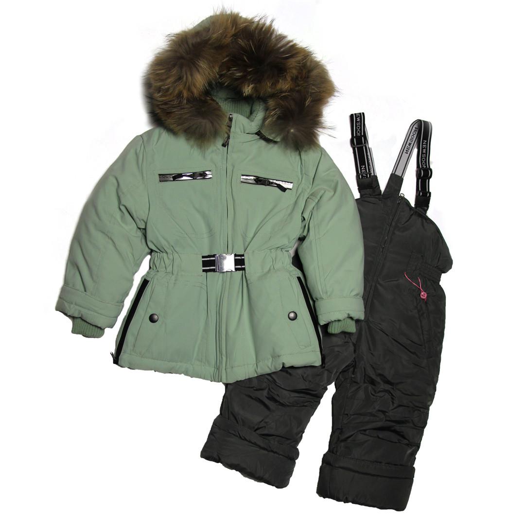 Дитячий зимовий комбінезон куртка та напівкомбінезон для дівчинки 80-98 зростання New Soon фісташковий