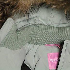 Дитячий зимовий комбінезон куртка та напівкомбінезон для дівчинки 80-98 зростання New Soon фісташковий, фото 2
