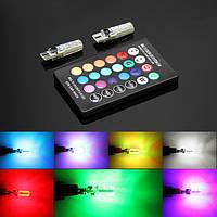 Led лампы T10 6 SMD 5050 RGB в габариты с пультом