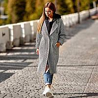 9bd7fa9bea73 Модное необычное деми пальто с трикотажным капюшоном свободного кроя тренд  2018 2019 размер S-M-L
