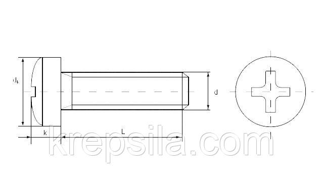 Винт DIN 7985 - чертеж