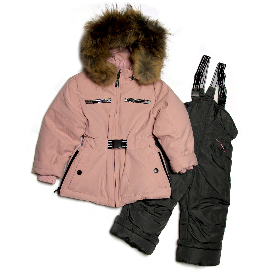 Детский зимний комбинезон для девочки 1-4 года New Soon розовый пудровый