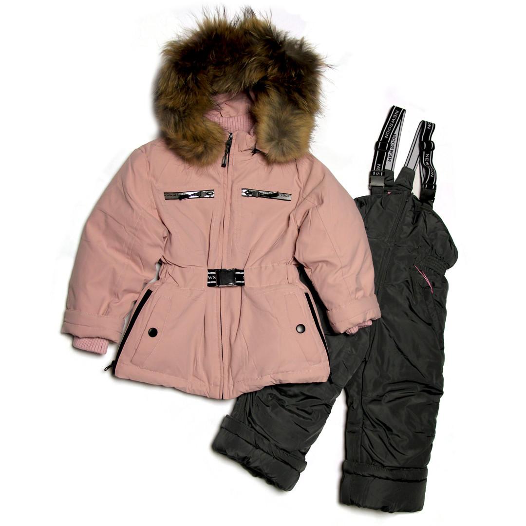 Детский зимний раздельный комбинезон для девочки 80-86 рост био-пух New Soon розовый пудровый