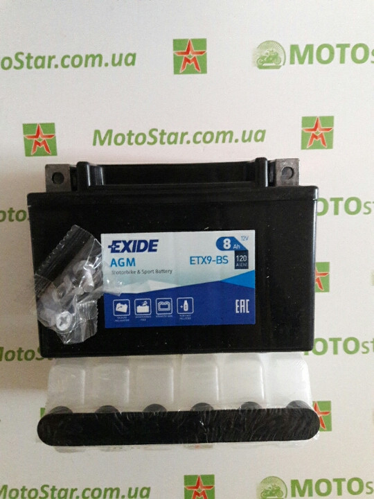 EXIDE YTX9-BS Мото аккумулятор 8 А/ч, 120 А, (+/-), 150х87х105 мм