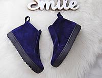 Замшевые ботинки на низком ходу 36-40 р синий, фото 1