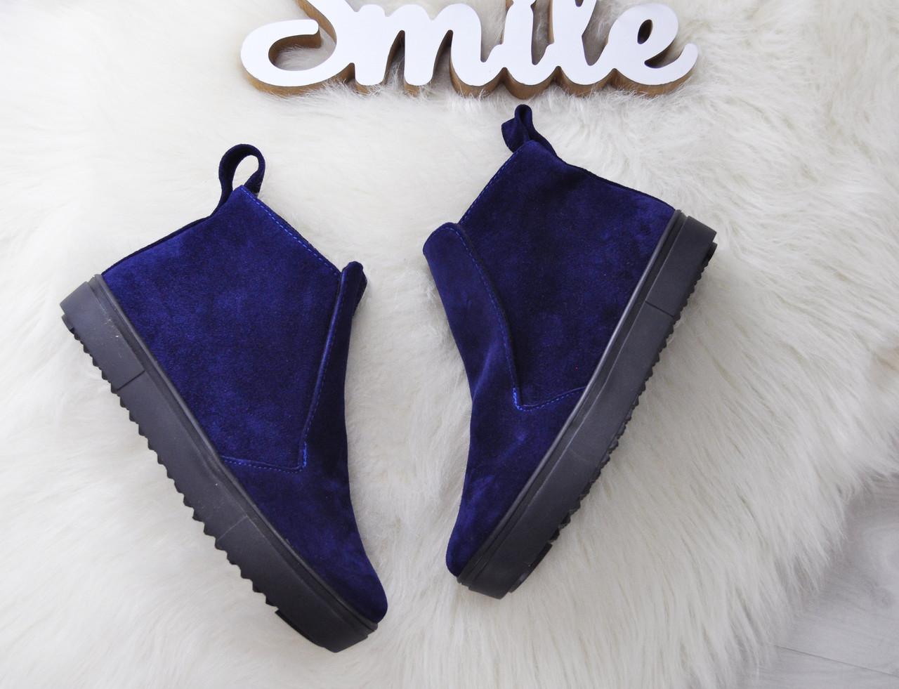 Замшевые ботинки на низком ходу 36-40 р синий