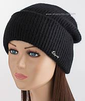 Вязаная шапочка с отворотом Фрида черного цвета